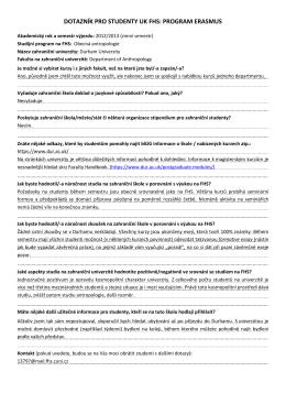 DOTAZNÍK PRO STUDENTY UK FHS: PROGRAM ERASMUS