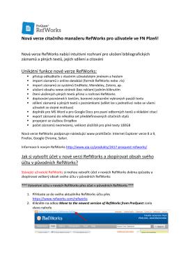 Nová verze citačního manažeru RefWorks pro uživatele ve FN Plzeň
