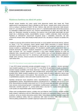 ČBA ekonomická prognóza - České bankovní asociace