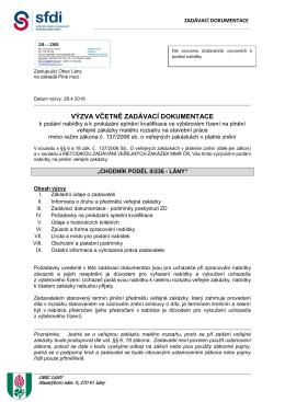 Výzva k podání nabídky vč. zadávací dokumentace na akci