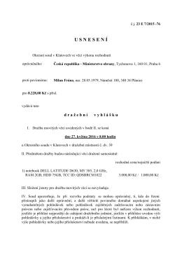 Okresní soud Klatovy - povinný Frána Milan