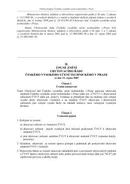 Ubytovací řád ČVUT - České vysoké učení technické v Praze