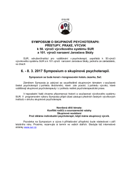 6. - 8. 3. 2017 Symposium o skupinové psychoterapii.