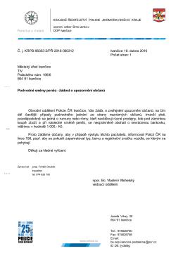 Policie ČR upozorňuje na podvodné směny peněz
