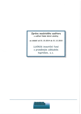 Zprciva nezcivisleho auditora LUCROS investicni fond s
