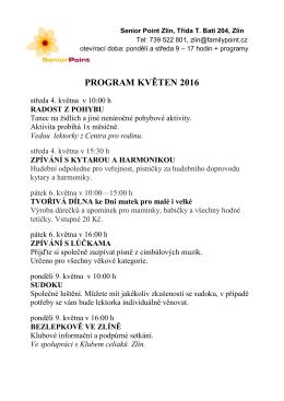 program květen 2016 - Turistický informační portál města Zlína