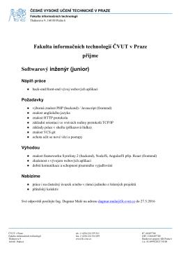 FIT ČVUT v Praze přijme softwarové inženýry na pozici junior a senior.