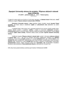 Zapojení Univerzity obrany do projektu Příprava občanů k obraně