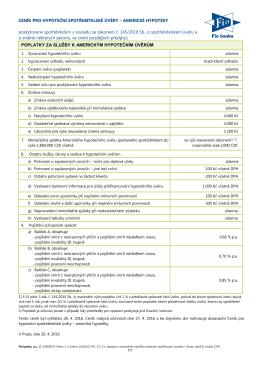 Ceník pro hypoteční spotřebitelské úvěry - Americké