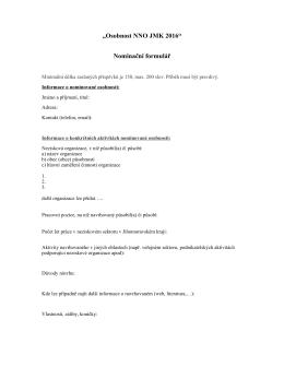 """""""Osobnost NNO JMK 2016"""" Nominační formulář"""