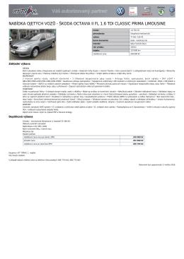 Škoda Octavia II FL 1.6 TDI Classic PRIMA
