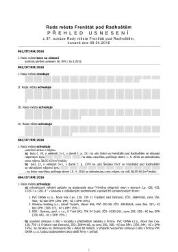 Přehled usnesení - Frenštát pod Radhoštěm