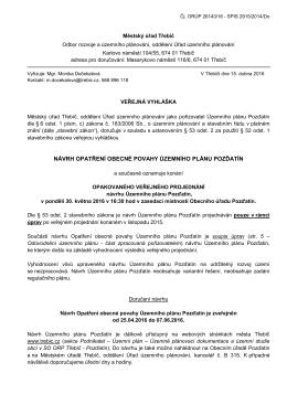 návrh opatření obecné povahy územního plánu pozďatín