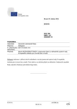 8310/16 eh/EBK/ds 1 DG B 3A Brusel 25. dubna 2016 Delegace