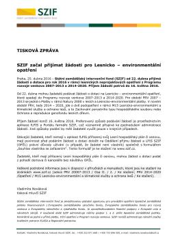 SZIF začal přijímat žádosti pro Lesnicko – environmentální opatření