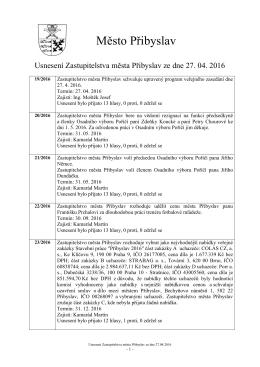Usnesení ZM 27.4.2016