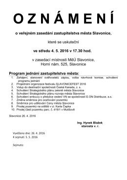 Oznámení o 15. veřejném zasedání zastupitelstva města Slavonice