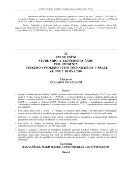 Studijní a zkušební řád pro studenty ČVUT ze dne 7. 4. 2009 ve