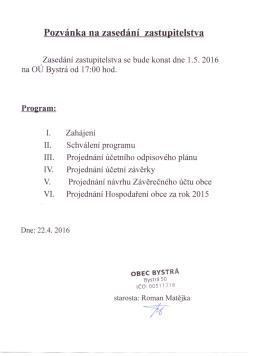 Pozvánka na zasedání zastupitelstva
