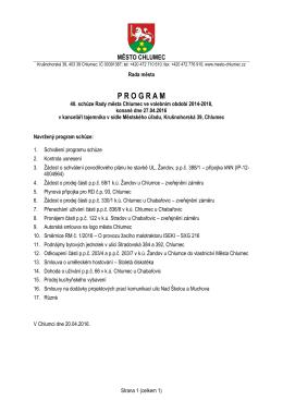Návrh programu 40. schůze RM