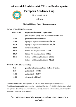 Časový harmonogram - Akademické mistrovství ČR v požárním