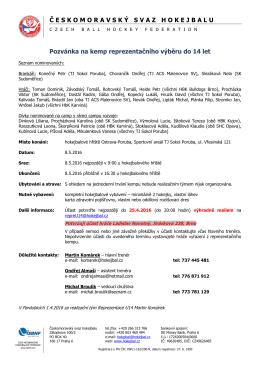 Nominace na kemp U14 - 8. 5. 2016, Ostrava - Poruba