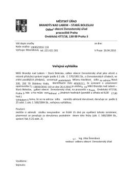 Oznámení o uložení zásilky pro Milana Havláta MěÚ Brandýs nad