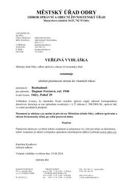 Veřejná vyhláška-Dagmar Foretová