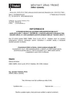 Informace o podání návrhu na uzavření veřejnoprávní smlouvy