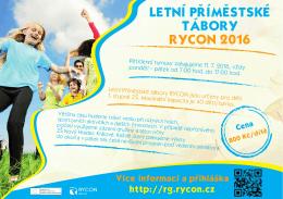 LETNÍ PŘÍMĚSTSKÉ TÁBORY RYCON 2016
