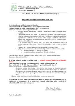 Kritéria pro hodnocení - stanovení pořadí uchazečů