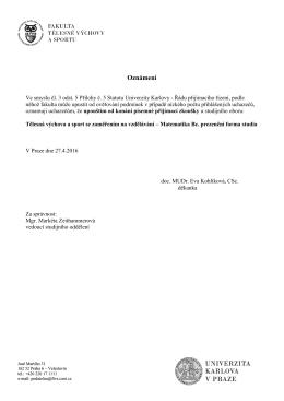 Upuštění od písemných přij. zkoušek Bc. TVS-Ma