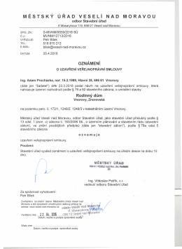 Oznámení o uzavření veřejnoprávní smlouvy