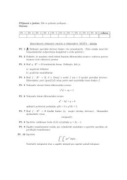 Zkoušková písemná práce z předmětu MAT4 - ukázka