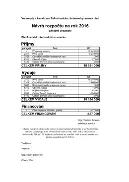 Návrh rozpočtu 2016 - VaK