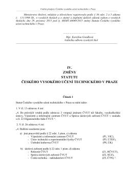 Statut ČVUT v Praze - změny účinné od 1.1.2016 (IV.Z)