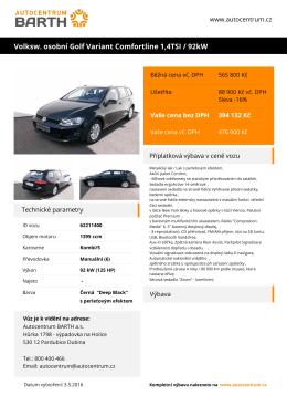 Volksw. osobní Golf Variant Comfortline 1,4TSI / 92kW