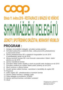 Pozvánka - Jednota, spotřební družstvo Moravský Krumlov