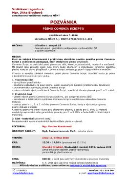 metodika psaní - Vzdělávací agentura | Mgr. Jitka Blechová