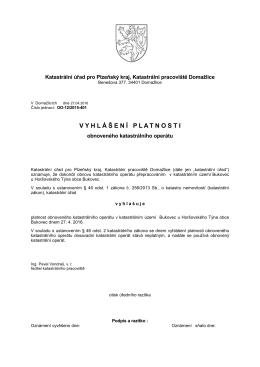 Vyhlášení platnosti obnoveného katastrální operátu v k.ú. Bukovec u
