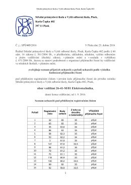 Výsledky přijímacího řízení – obor vzdělání 26-41