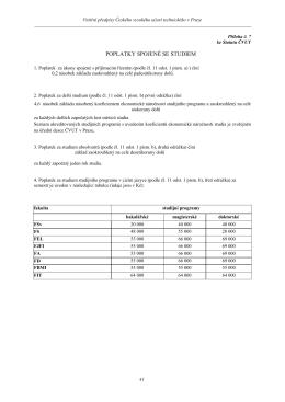 Příloha 7 Statutu: Poplatky spojené se studiem
