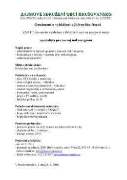 specialista - Mikroregion Hrušovansko