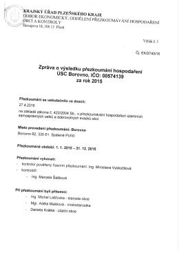 Zpráva o přezkoumání hospodaření obce Borovno