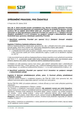 Zpřesnění Pravidel pro žadatele pro operaci 6.1.1 Zahájení činnosti