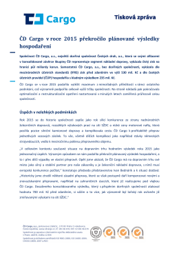 ČD Cargo v roce 2015 překročilo plánované výsledky