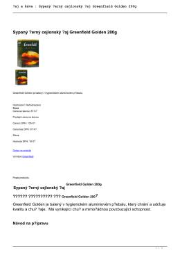 Sypaný černý cejlonský čaj Greenfield Golden
