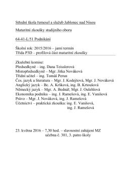 Rozpis ke stažení zde - Střední škola řemesel a služeb Jablonec