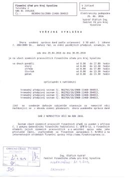 Veřejná vyhláška FU pro Kraj Vysočina