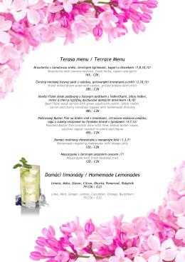 Terasa menu / Terrace Menu Domácí limonády / Homemade